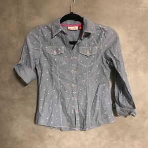 Chambray long sleeve button down with hearts